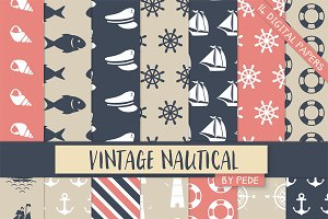 Vintage nautical digital paper