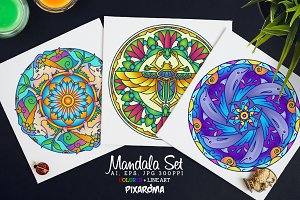 Vector Animals Mandala Set