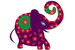 Bright cartoon elephant