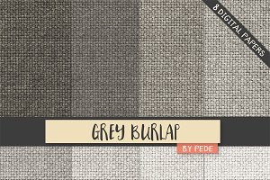 Grey burlap digital paper pack