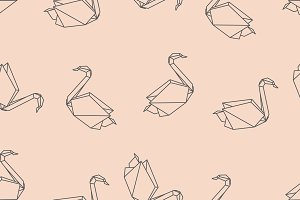 Origami bird swan seamless pattern
