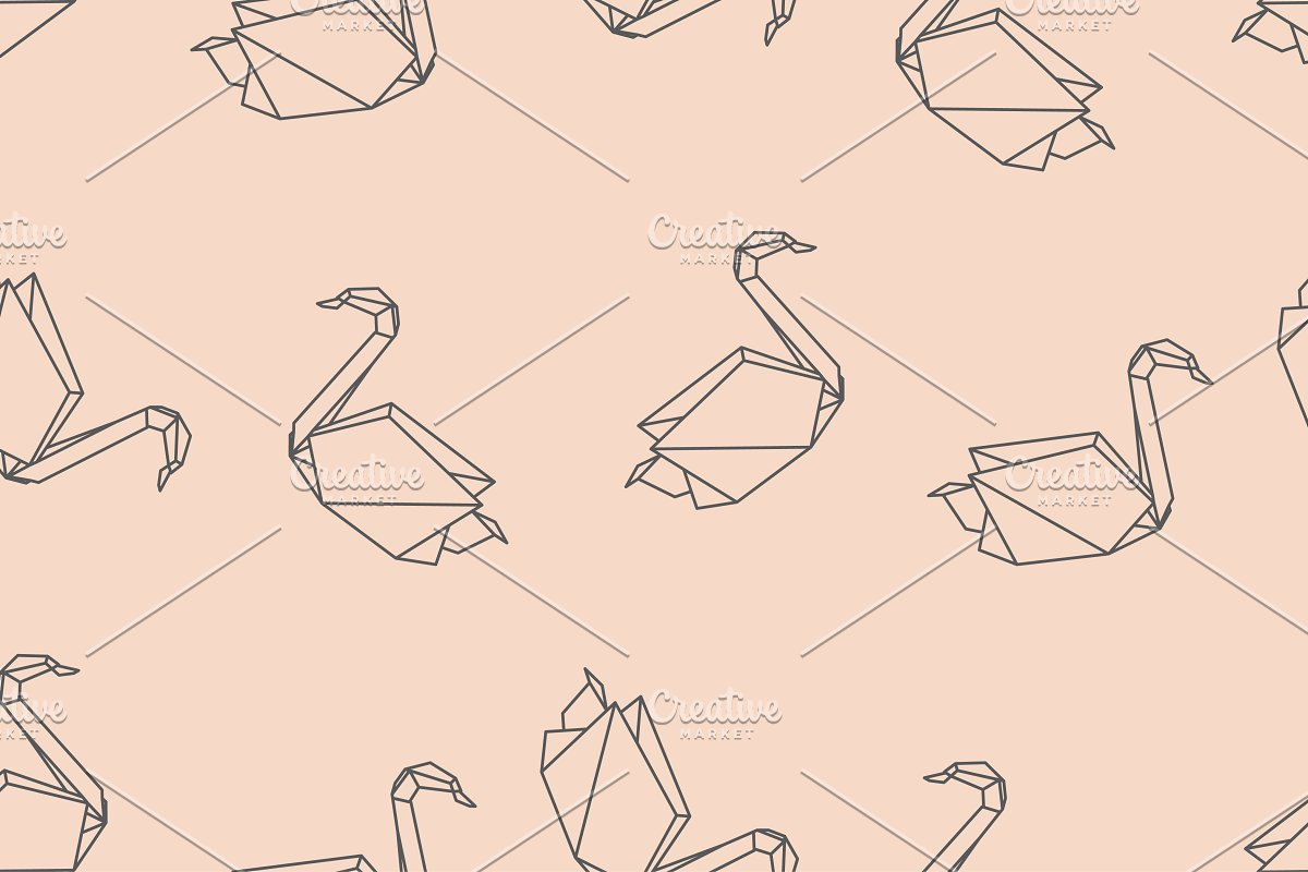 Origami bird swan seamless pattern