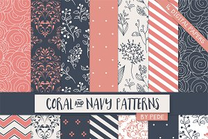 Coral and navy digital paper