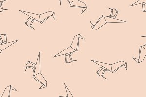 Origami black bird seamless pattern