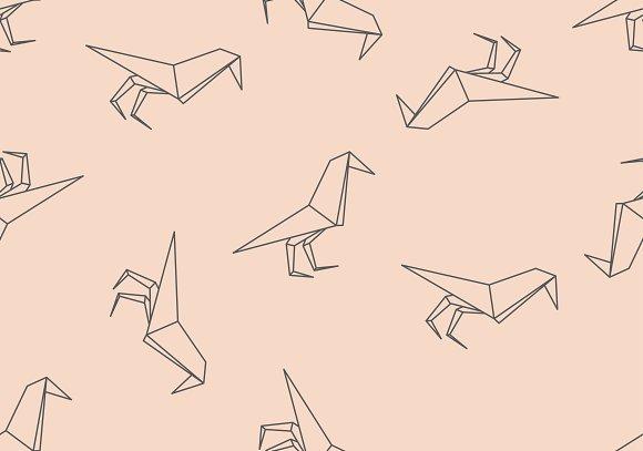 Origami black bird seamless pattern