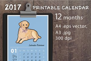 Printable calendar with dogs 2017