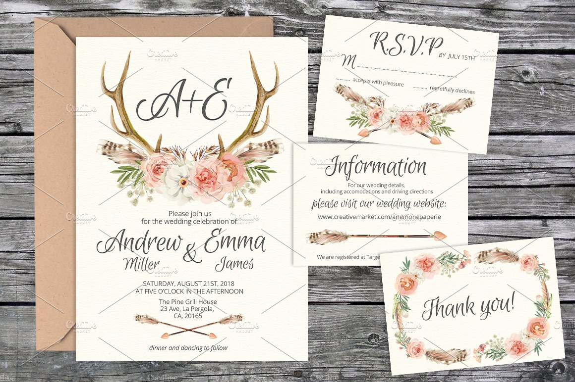 Wedding Invite Suite Templates Invitation Templates Creative - Wedding invitation templates: wedding invitation suite templates