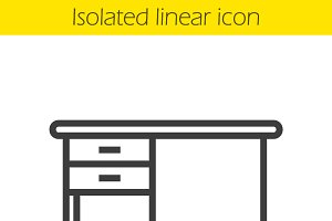 Desk linear icon. Vector