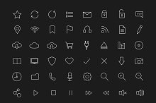 Digital. 56 linear icons set. Vector