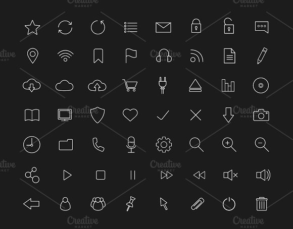 Digital. 56 linear icons set. Vector - Icons