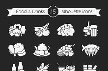 Food and drinks. 12 icons. Vector