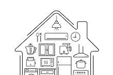 Modern kitchenware icons. Vector