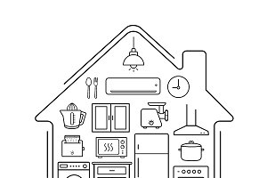 Modern kitchenware icons. Vector