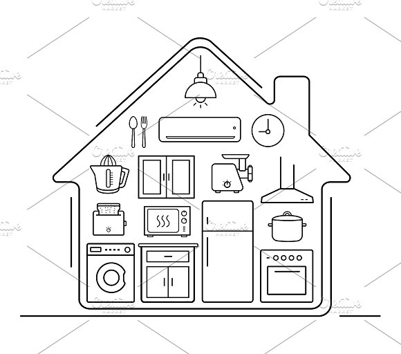 Modern kitchenware icons. Vector - Icons