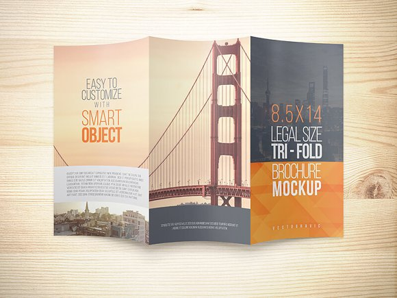 8.5x14 Legal Trifold Brochure Mockup in Print Mockups - product preview 1