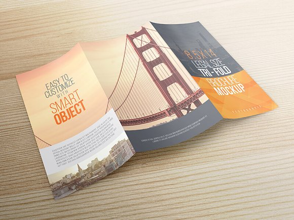 8.5x14 Legal Trifold Brochure Mockup in Print Mockups - product preview 3