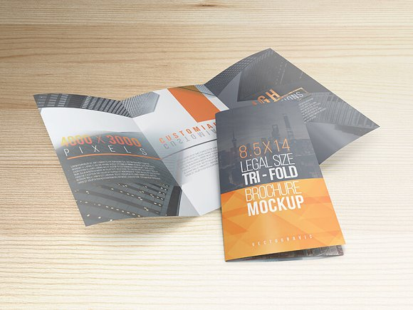 8.5x14 Legal Trifold Brochure Mockup in Print Mockups - product preview 4