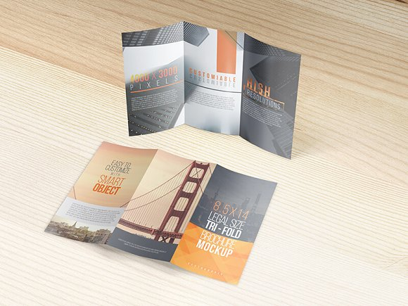 8.5x14 Legal Trifold Brochure Mockup in Print Mockups - product preview 6