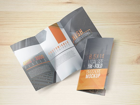 8.5x14 Legal Trifold Brochure Mockup in Print Mockups - product preview 7