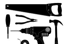 Renovation tools silhouettes. Vector