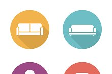 Soft furniture. 4 icons. Vector