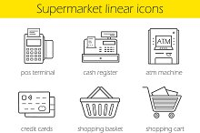 Supermarket shopping 9 icons. Vector