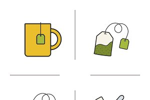 Tea. 4 color icons set. Vector