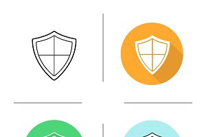 Shield. 4 icons. Vector