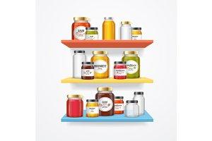 Jam Glasses on Shelf. Vector