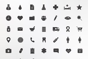Medical center. 42 icons. Vector