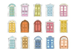 Hand drawn double doors vector set