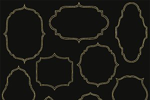 Hand drawn gold digital frames