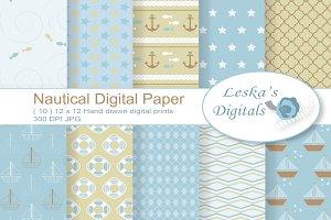 Nautical Sea Pattern Digital Paper