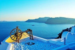 Wooden wheel in Santorini