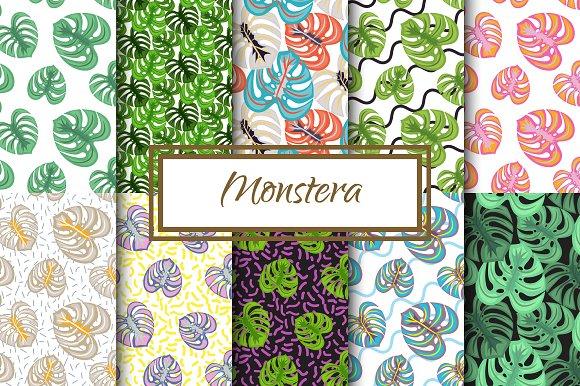 Monstera Leaves Seamless Patterns
