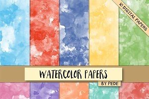Watercolor digital paper pack