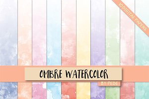 Ombre watercolor digital paper