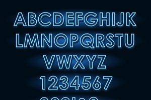 Neon tube light letters font
