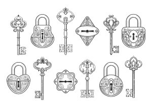 Vintage key, keyhole and lock set