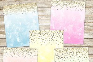 Ombre watercolor & gold confetti