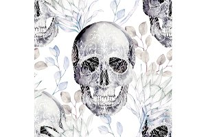 Watercolor Pattern With Skull