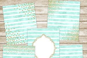 Mint watercolor & gold