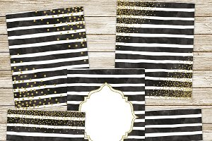 Black watercolor & gold