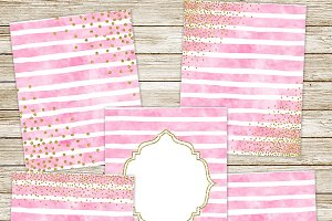 Pink watercolor & gold