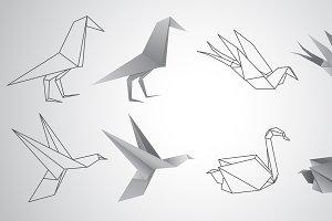Birds paper origami set