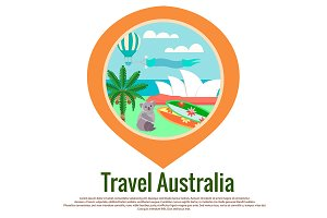 Badge Travel Australia as GPS mark