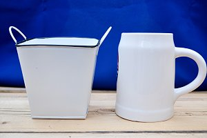 white cooking pot and pitcher