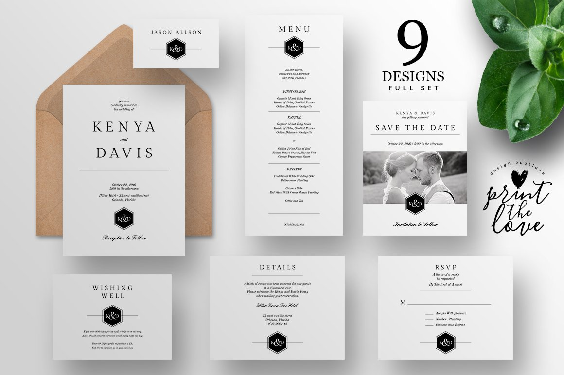 Wedding Invitation Suite Leganto Invitation Templates Creative - Wedding invitation templates: wedding invitation suite templates