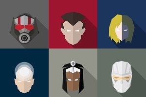 SuperHeroes Masks Flat (Set 13)