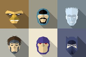 SuperHeroes Masks Flat (Set 14)